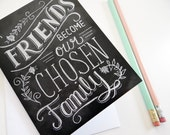 Friendship Card - Best Friend Card - Chalkboard Art - Hand Lettering - Chalk Art - Chalkboard Note Card - LilyandVal