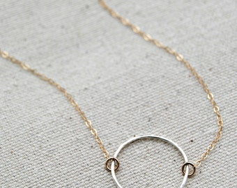 choate... mixed metal eternity necklace / sterling silver eternity circle & 14k gold filled chain necklace / infinity / eternal love / karma