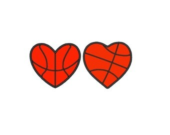 Basketball Heart Love Set of two different types APPLIQUE. Machine Embroidery Design Digitized File 4x4 5x7 6x10