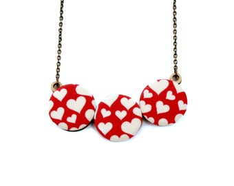 Heart Print Red and White Necklace