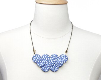 Blue Blossom Graphic Print Statement Necklace
