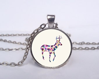 Flower Printed Stag Necklace, Deer Jewelry, Stag Flower Art Pendant, Stag Charm [B1025]