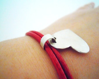 Heart Two in One Pendant/Bracelet in Sterling Silver with Red Leatherette Cord