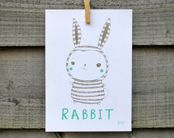 Bunny rabbit illustration.  New born, nursery, kids home decor.