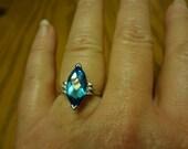 10k Ring White Gold Marquise Blue Topaz & Diamond White Gold Designer Ring Engagement Wedding Band Something Blue London Like size 7