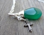 Silver wire wrapped Green Onyx Pendant with cross crystal charm Christian Religious Necklace Handmade Necklace