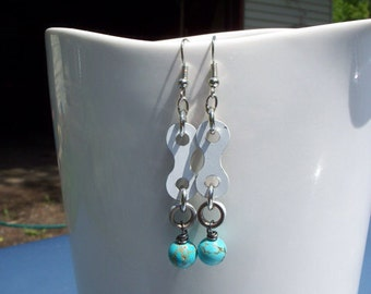 Bmx Chain Earrings Natural Turquoise with White BMX Chain Link Handmade