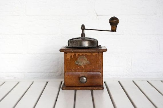 Large Vintage German 1930s Wooden Coffee Grinder by Zassenhaus Rustic