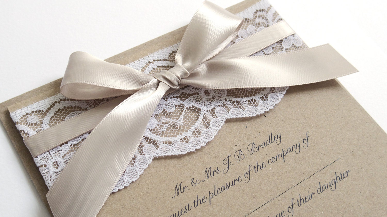 Wedding Invitation Lace: Ribbon And Lace Wedding Invitation SAMPLE By STNstationery