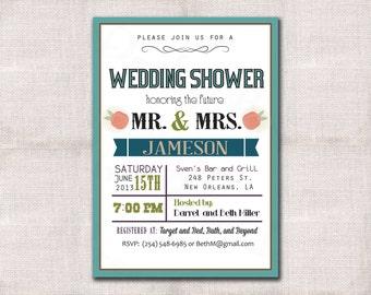Wedding Shower Invitation Custom Printable 5x7