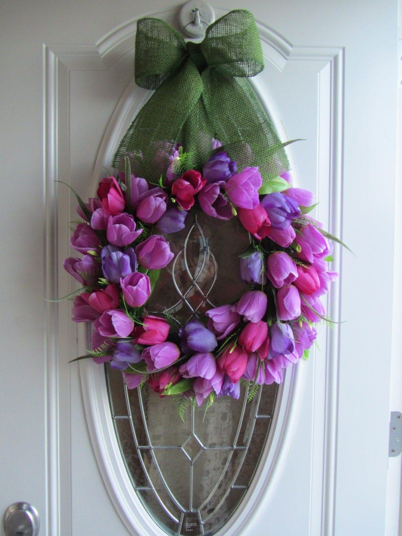 Spring Wreath Tulip Wreath Front Door Wreath