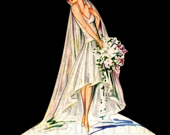 Very Modern Flapper BRIDE Place Card. 1920s Bride Flapper VINTAGE Illustration. Art Deco Wedding  DIGITAL Download. Perfect For Invites