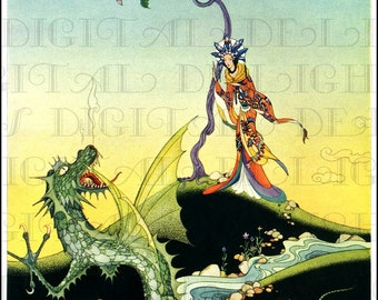 RARE. Gorgeous Asian PRINCESS And Dragon. Vintage Fairy Tale Illustration. Digital Download.  Virginia Sterrett. From FIRST Edition.