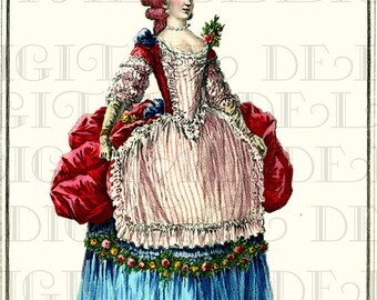 Red-Headed Marie Antoinette. VINTAGE French Fashion DIGITAL Illustration. Digital Download. Marie Antoinette Print