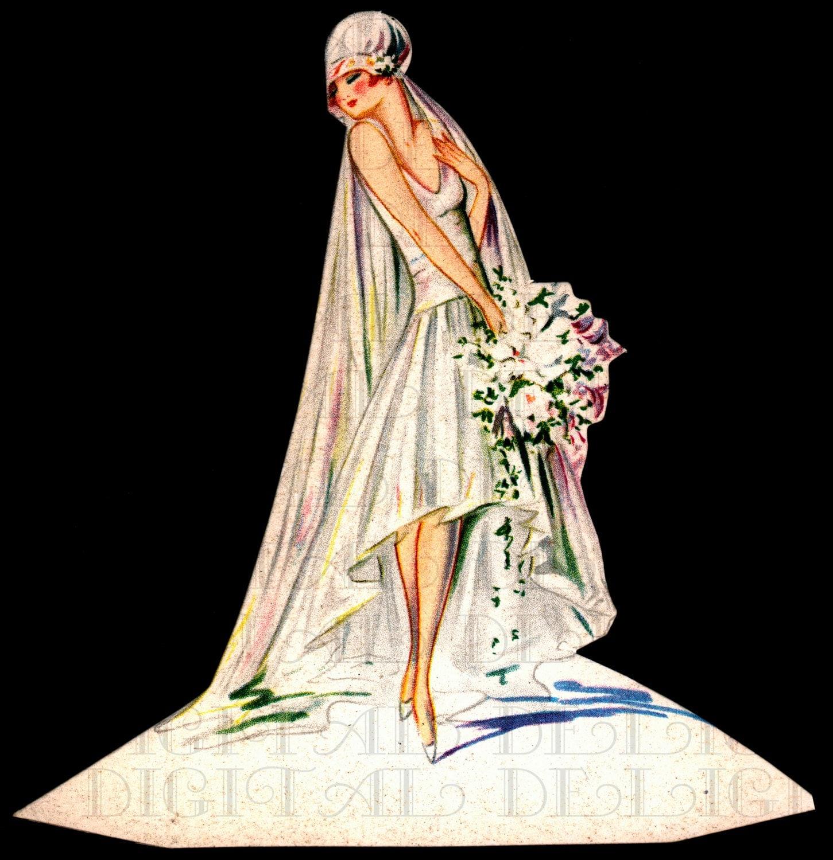1920s Vintage Wedding Ideas: Very Modern Flapper BRIDE Place Card. 1920s Bride Flapper