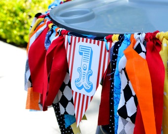 Circus Inspired high chair banner/ photo prop/ party decor