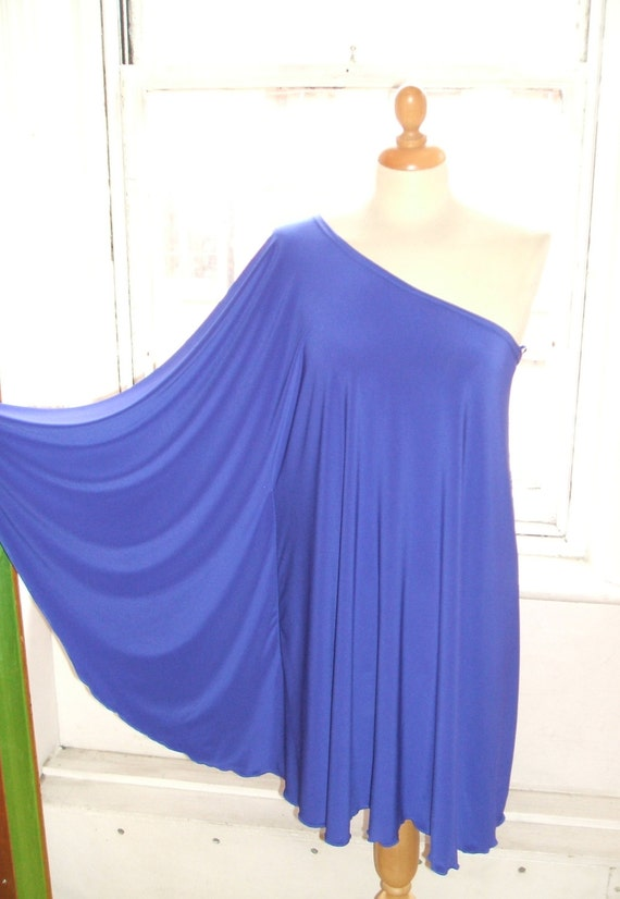Baylis & Knight Blue STUDIO 54 Batwing 70's Disco Glam One Shoulder Bat Wing Dress Elegant (Smock)