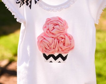 Chevron Print Cupcake Rose Icing Birthday Tee Infant Girls with Bow