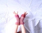 Rose Maidens........Fingerless gloves, spring cuffs, 2013 spring fashion, rose pink and pink tweed, made in Vermont, high fashion statement
