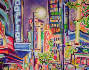 Limited Edition Giclee Canvas Print 8x10 - Granville At The Warehouse - Colorful City Night Art