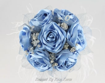 Blue Bouquet, Blue Bridal Bouquet, Blue Wedding Bouquet, Brooch Bouquet, Alternative Bouquet, Something Blue Boquet