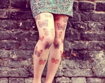 90s Colorful Butterflies - Tattoo Tights - Free Shipping - Made to order :)