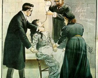 Women's Rights Suffragette Poster fridge magnet Torturing Women in Prison
