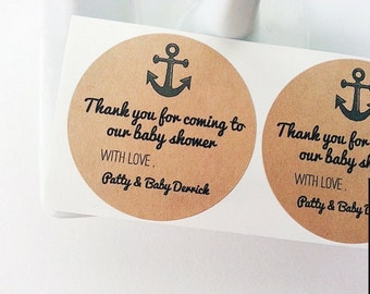 Nautical Anchor Mason Jar Labels / Children's Birthday Favors / Kraft Round Labels / Food Labels / Stickers / Paper Goods Once Upon Supplies