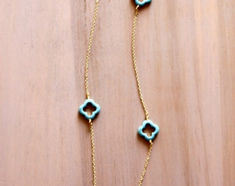 Turquoise Clover and Gold Chain Long Necklace