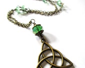 TRIQUETRA necklace bright green necklace trinity necklace Celtic knot necklace
