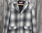 RESERVED 50s Shadow Plaid Wool Western Jacket by Weather Jack Western Wear, Men's M // Cowboy Coat // Rockabilly Winter Sport Coat