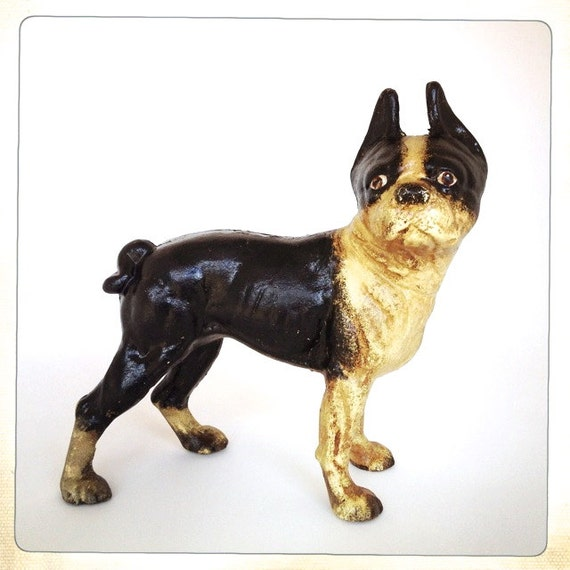 Cast iron dog bank doorstop boston terrier vintage hubley - Cast iron dog doorstop ...