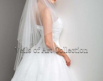 Handcrafted Bridal Fingertip Veil with Scalloped Designer Beaded Edge Style VE164