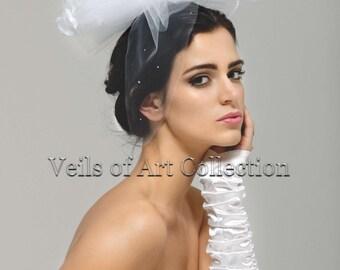 Designer Bow Veil with Genuine Swarovski Crystals Embellishment Style VE153