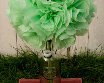 Large flower bouquet // crepe paper // mint