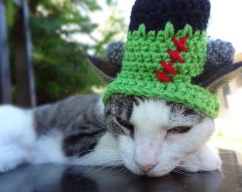 Frankenstein Cat Hat, Frankenstein Cat Costume, Halloween Cat Hat, Halloween Cat Costume, Halloween Hat for Cat, Halloween Costume for Cat