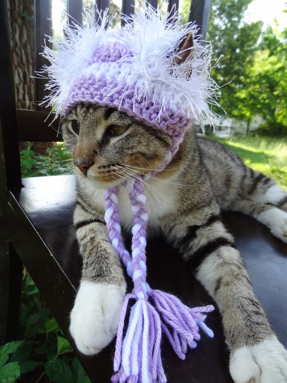 Cat and Dog Hat Costume - The Lilac and White Wackadoodle Hat for Cats and Small Dogs