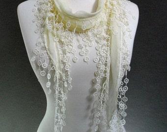 Cream Color Fabric Lace scarf, Embroidery scarf, triangle scarf, Fringe Scarf, trim shawl, spring - summer - fall fashion