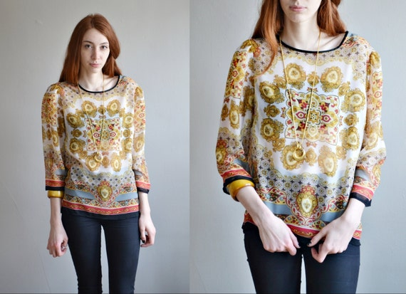 Vtg 80s hippie SILK blouse // SHEER silk SCARF printed  hippie boho over size silk shirt top