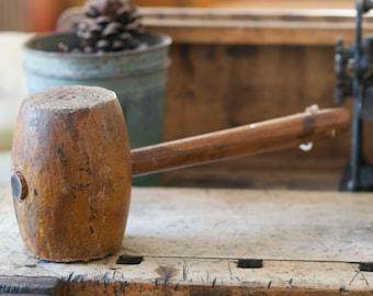 Vintage Primitive Wood Mallet Hammer