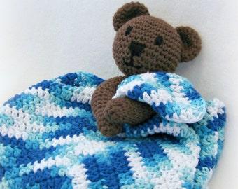 Bear Blanket Lovey, Baby Bear Lovey, Crochet Baby Lovey, Teddy Bear Blanket, Baby Shower Gift, Toddler Blanket, Baby Boy Gift Baby Girl Gift