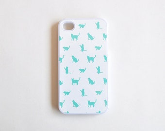 Cat iPhone 4 Case in White and Mint Green - Cute Plastic iPhone Case for Girls - White and Mint Green iPhone Case - Accessories for iPhone