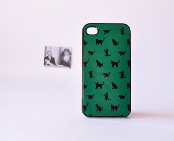 Cat iPhone Case - iPhone 4/4s Case - iPhone 5/5s Casr- Cat Pattern in Dark Green - Accessories for iPhone