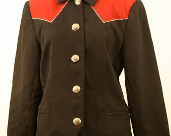 1980s Scully Women's Western Jacket, Red and Black