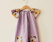Girls floral and lilac purple gingham airy summer floral classic tunic dress with pockets age 1