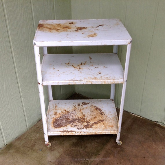 Vintage Metal Kitchen Utility Rolling Cart A Great Piece To