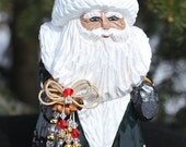 Hand Carved Russian Style Santa with Adirondack Loons - Spruce Green Quilted Robe