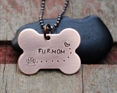 Fur Mom Necklace, Pendant in Copper with Stamped Paw Print and Heart with Trail