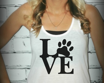 Puppy Love  -- Racerback Tank Top- Sizes S-XL. Other Colors Available