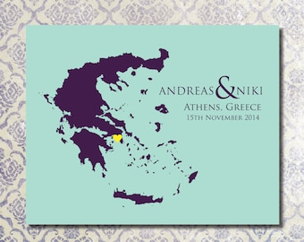 Any Wedding Location &  Map / Custom Anniversary Wedding Present / Bridal Shower Gift / Special Date Art / Newlyweds Gift - Greece 8x10